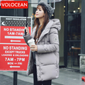 2017 Moda Outono Inverno Mulheres Jaqueta Longa de Algodão-Acolchoado Casacos Com Capuz Feminino Amassado Casaco Outerwear Casacos de Inverno Plus Size