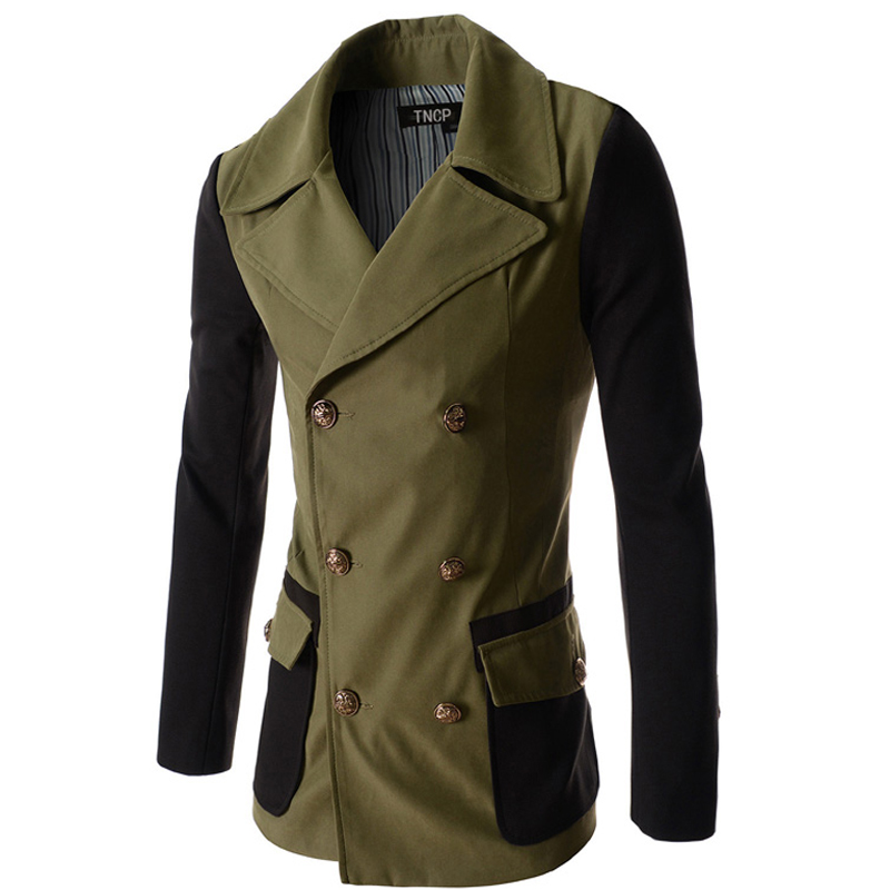 Autumn Winter Mens Trench Coat 2016 New Arrival Fashion Men Clothes Slim Fit Double-Breasted Mens Long Trench Coat