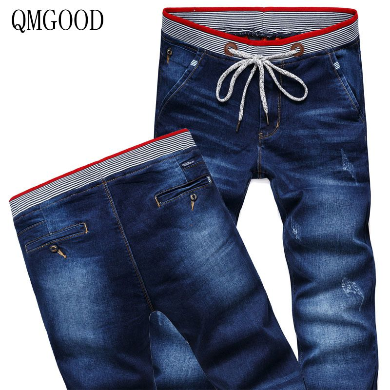 QMGOOD Men's jeans on an elastic band mens stretch denim jeans 2017 new fashion casual straight blue men's jeans male pants 36