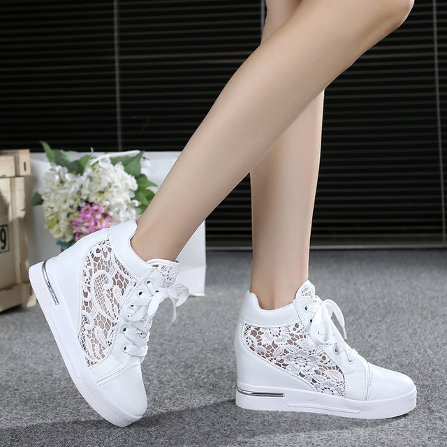 Summer Women Shoes Woman Breathable Mesh Sneakers Flats Lace Loafers  Elevator Shoes Platform Wedges Ladies Creepers 7d0b86a890b0