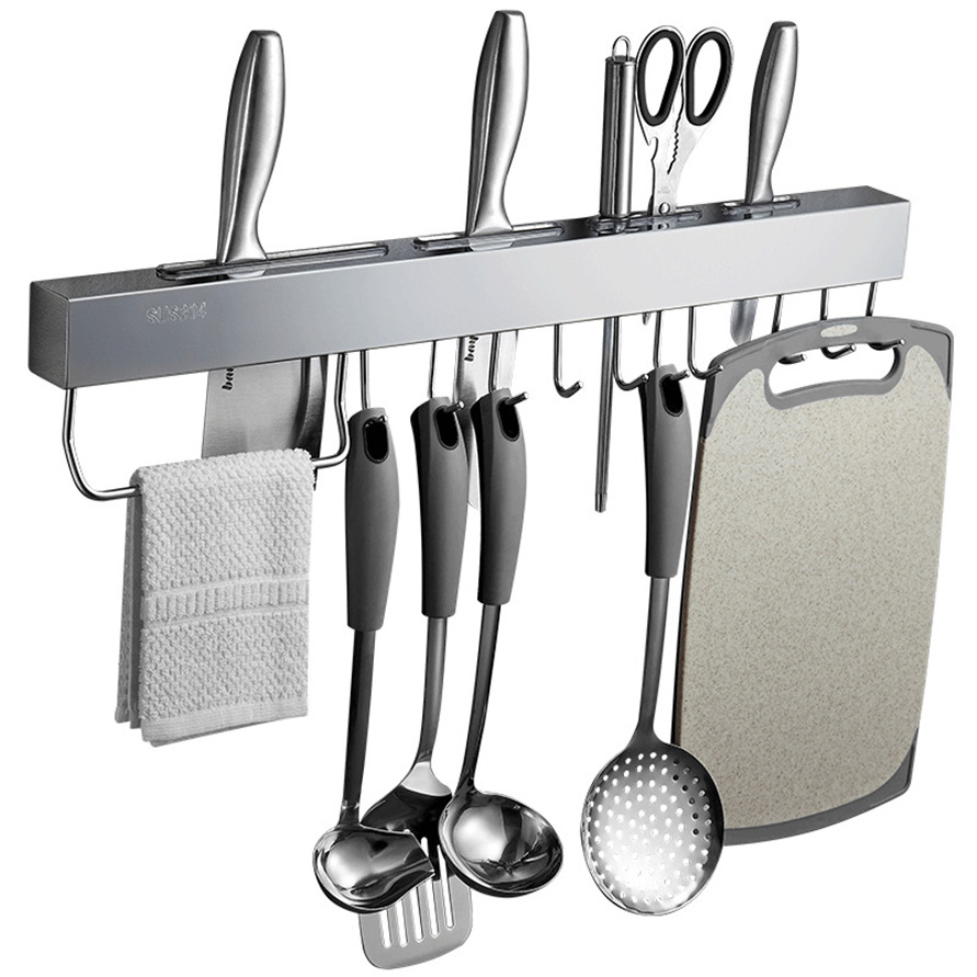 Stainless Steel Kitchen Racks For Pantry All Knives Shelf With Hook Slice Soup Ladle Chopping Block Holder Kitchen Accessories