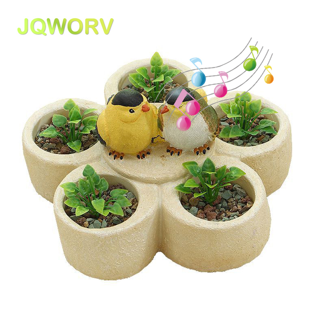 225 & US $16.48 27% OFF|The New Light control induction bird succulent plant flower pot Creative resin decoration Can make a sound Garden art device-in ...
