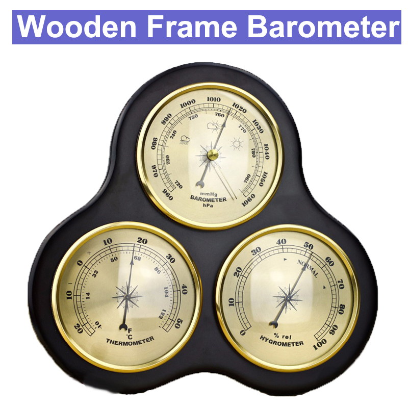 3Pcs Set Triangle Hygrometer Manometer Thermometer Barometer With Wooden Frame Base Ornaments Wooden Weather Station Instrument