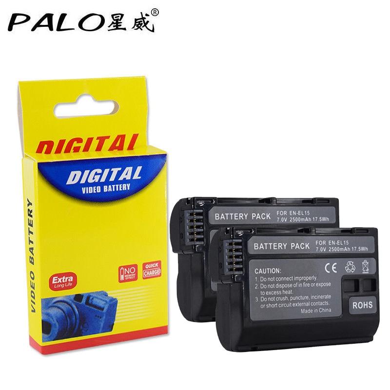 PALO 2pcs EN-EL15 Full Decoded 2499mAh Camera Battery for Nikon D500,D600,D610,D750,D7000,D7100,D7200,D800,D850,D810,D810A&1 V1