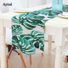 Aytai Хлопок Льняной Пальмовый лист Monstera Leaf Green Table Cloth Главная Цифровой печатный стол Runner Современная гавайская вечеринка Украшение