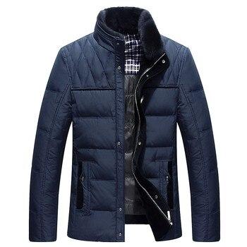 2018 marque blanc canard doudoune hommes vestes d'hiver hommes épais chaud fourrure col vers le bas manteau de mode parkas hottes M-3XL