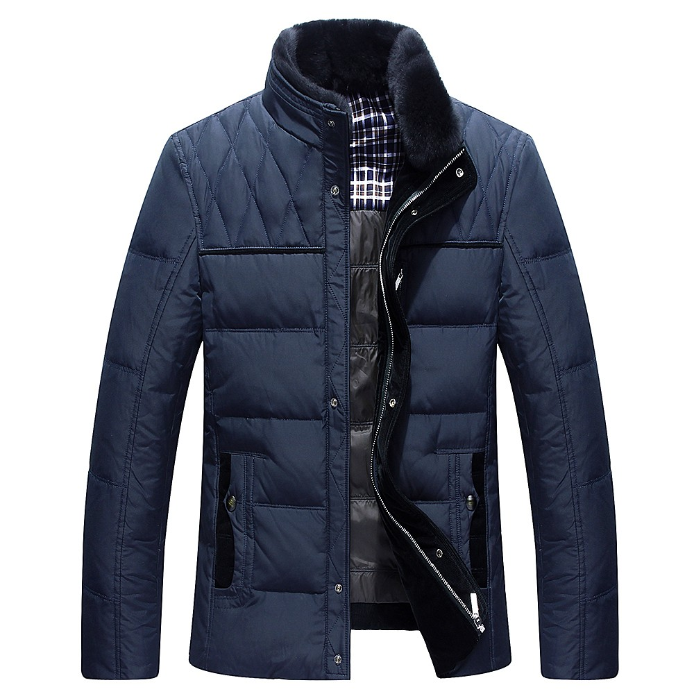 2017 Brand white duck down jacket men Winter jackets mens thick warm fur collar down coat fashion parkas hoods M-3XL