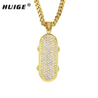 Stainless Steel Gold Tone Iced Out Rhinestone 3D Skateboard Pendant Hip Hop Mens JEWELRY With 5mm