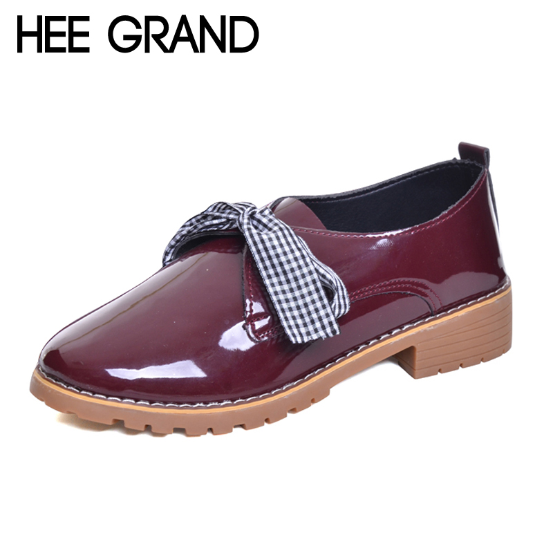 HEE GRAND Brogue Platform Women Pumps With Bowtie Patent Leather Shoes Woman Round Toe Slip On Loafers Women shoes XWD6011 hee grand 2017 new women oxfords british pu patent leather platform flats spring round toe slip on casual shoes woman xwd3511
