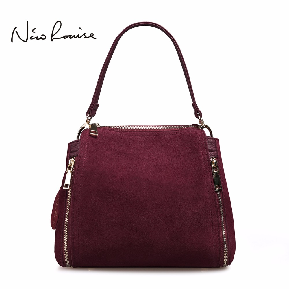 2018 Brand New Women Real Suede Leather Shoulder Bag Fashion Leisure Doctor <font><b>Handbag</b></font> For Female Girls Top-handle Bags Sac A Main