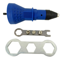 Electric Rivet Nut Gun Cordless Riveting Drill Adaptor With Wrench 4 PCS Insert Nut Riveting Tool