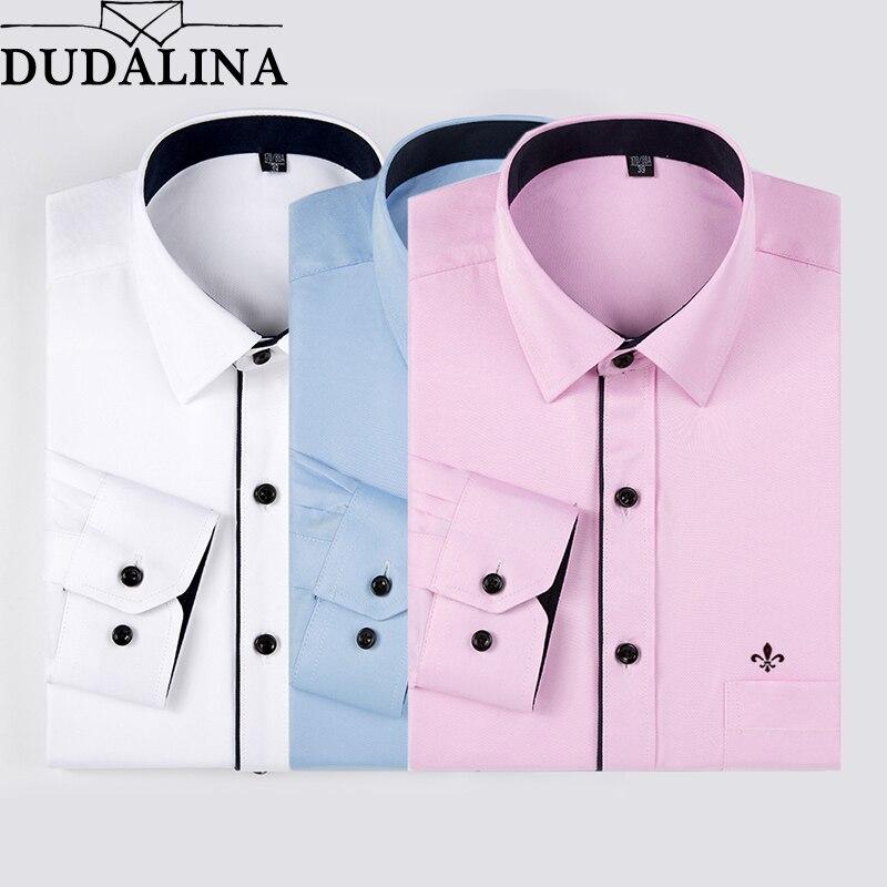Dudalina 2018 Uomini Camicia A Maniche Lunghe Moda Classica A Righe Solido Twill di Lavoro Formale Maschile Camicie Marca Camicia Uomo Tasca
