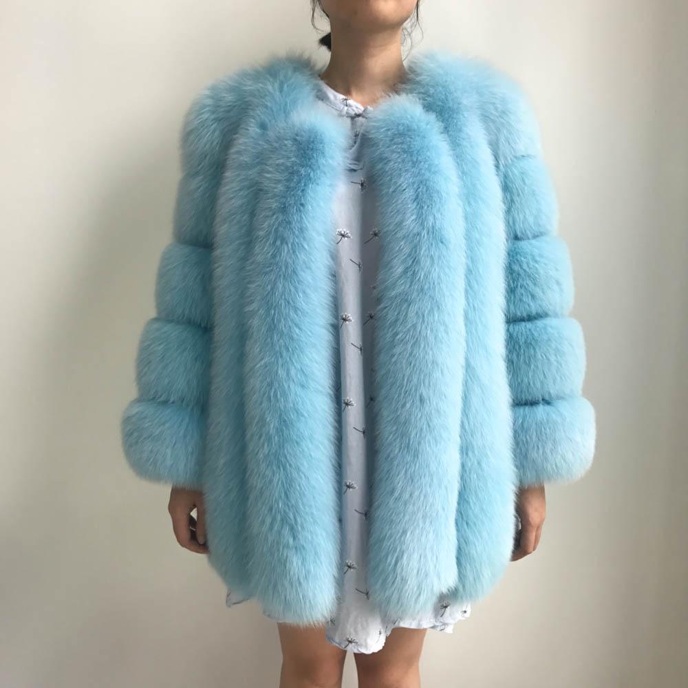 Fashion Winter Real Fox Fur Coat Women Autumn Ladies Overcoat Long Luxury Female Winter Thick Warm 100% Natrual Fox Fur Jacket