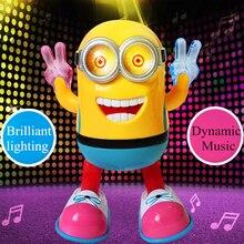 Дети электрические игрушки миньон Танцы Робот детские развивающие игрушки со светом и музыкой маленькие желтые люди детский подарок