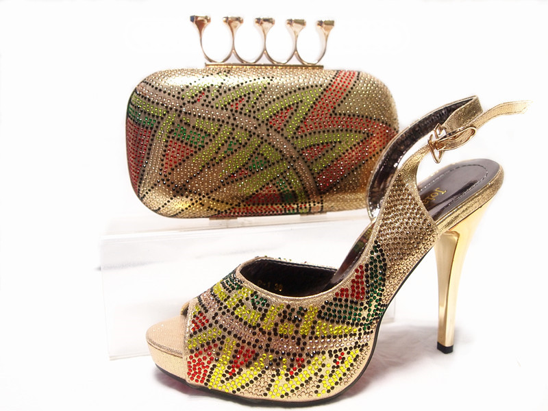 ФОТО Shoes and Bag Gold African Shoes and Bag Set for Party In Women High Quality Matching Italian Shoes and Bag Set Wedding  JA10-5