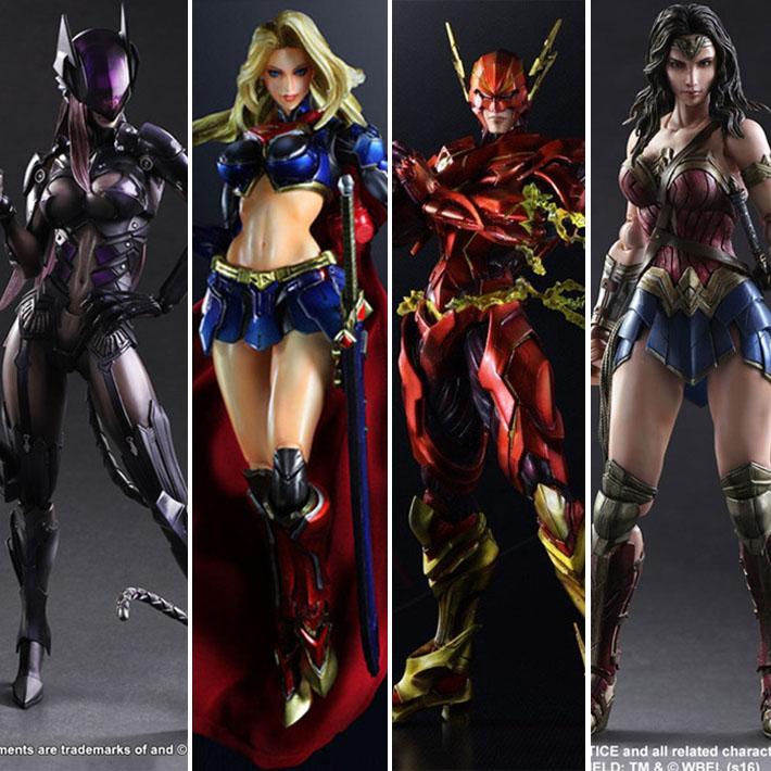 PLAYARTS DC Justice League Flash Superman Superwomen Catwoman Wonder Woman Action Figure model doll decoration gift W12