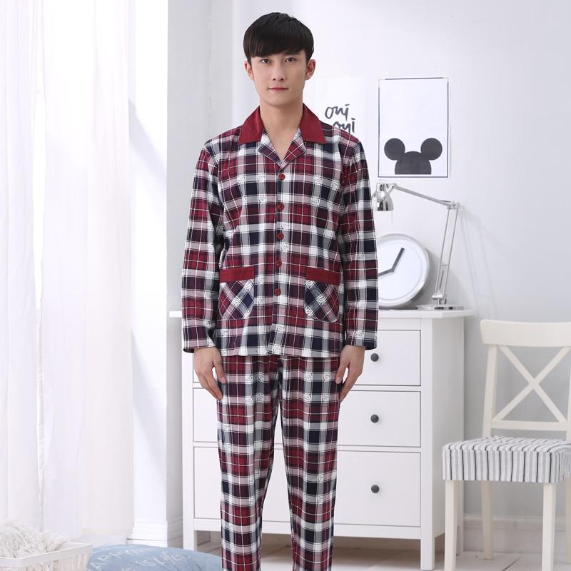 Top quality!2016 mens clothing cotton plaid pajamas ,plus size long-sleeve pyjamas men ,winter nightwear for male