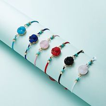 Make a Wish Resin Stone Lucky Weave Rope Bracelet Adjustable Fashion Jewelry