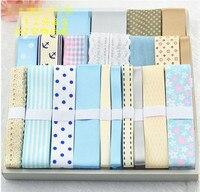 Blue Series 22 Yards Mixed Tape Printed Grosgrain Ribbon Lace Satin Ribbon Set DIY Hairpin Accessories