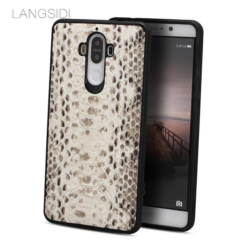 Étui de téléphone portable de marque wangcangli couverture de téléphone en peau de python naturel pour Huawei Mate 9 traitement personnalisé fait main