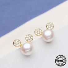 e0551b44dda4 Super oferta Grace hermosa ronda elegante perla Stud pendiente bien Natural  de la joyería de perlas