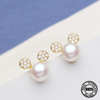 Super Deal Grace beautiful round elegant Pearl Stud earring Fine Jewelry Natural round pearls Mickey Stud Earrings Women