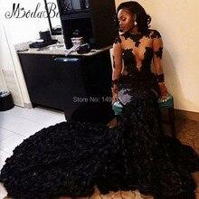 2016 Nigerian Afrikanischen Abendkleider Langärmelige Spitze Schwarze Formale Kleid Handgemachte Blumen 2K16 Vestido De Festa Longo Sereia