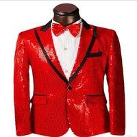 2018 Red sequins black edge men suit peaked lapel performance tuxedos prom stage dress plus size Blazer tailor jacket and pants