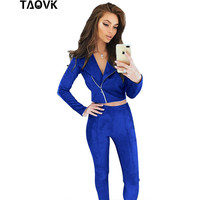 TAOVK Women Suede Leather 2 Piece Set Sexy V Neck Long Sleeve Top And Pants Slim