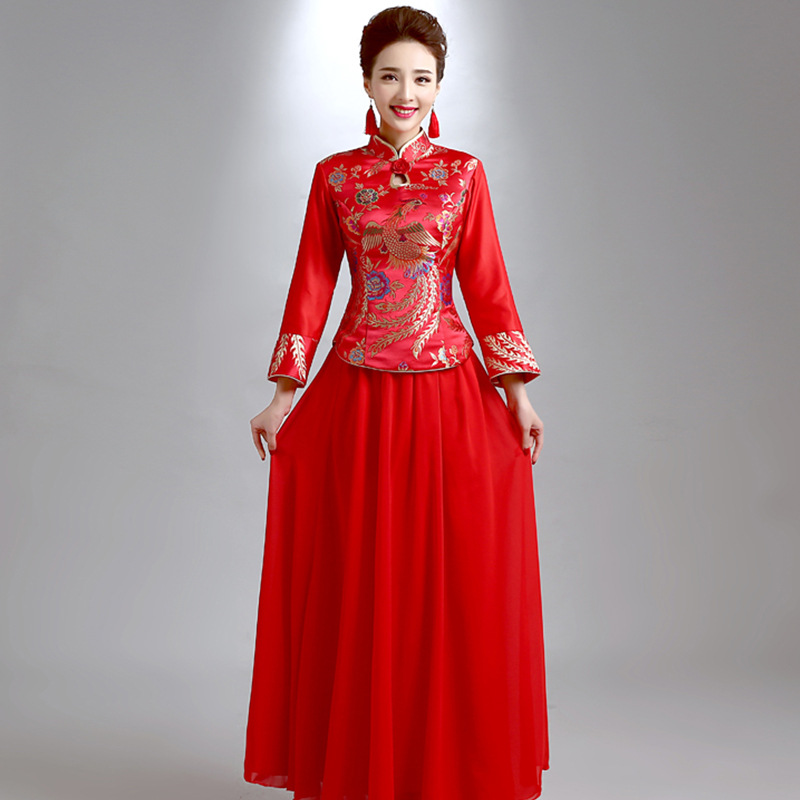 Chinese National RED Bride Wedding Cheongsam Phoenix Oriental Lady Stage Show Qipao Plus Size Ancient Marriage Dress XS 3XL