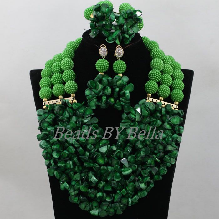 African Coral Beads Jewelry Set Green Balls Chunky Wedding Necklace Bracelet Earrings Bridal Jewelry Sets Free Shipping ABF858