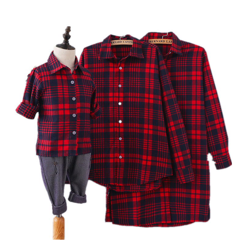 Mother & Kids Matches Outfits Family Look Long Sleeve Plaid