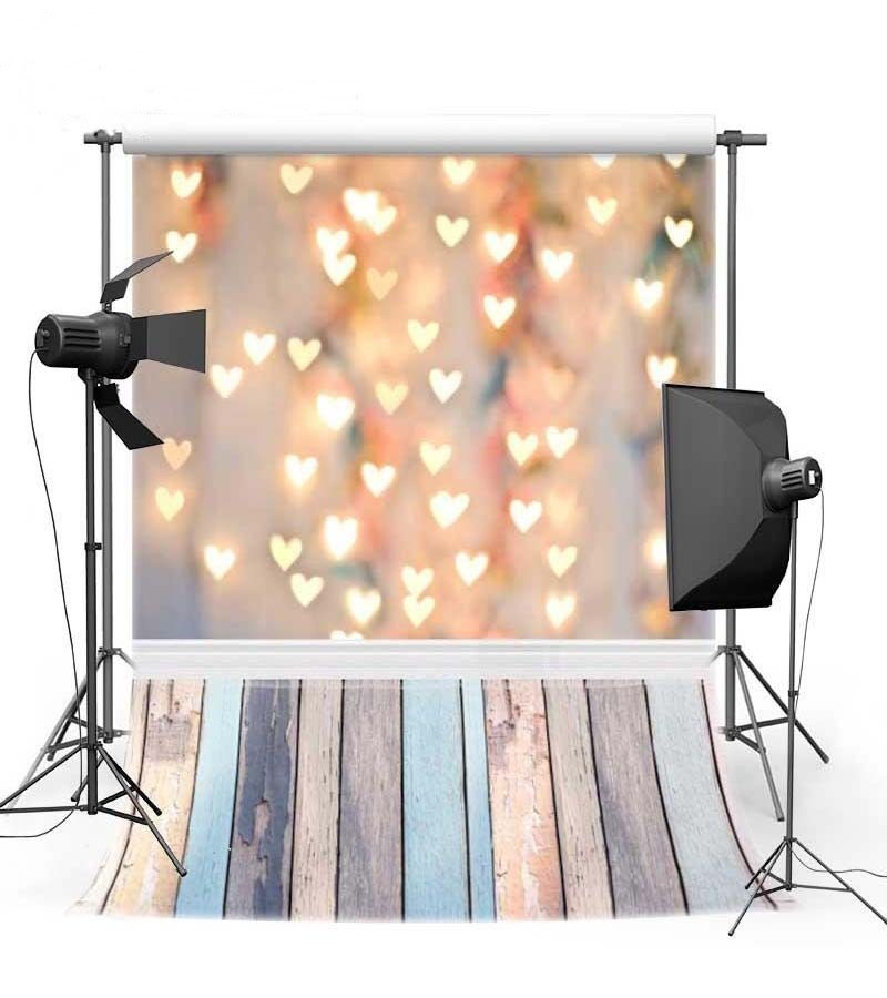 Light Gold Bokeh Love Heart Valentines Day backdrop Vinyl cloth High quality Computer printed wedding  Backgrounds bicycle lpv love promise of vow poke valentines day gifts