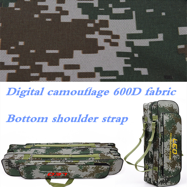 2018 Digital Camouflage Fishing Bags 600D Canvas 2/3 layer 80/90cm Fishing Rod Kit Tackle Boxes Multi-Purpose Fishing Gear Bags 4