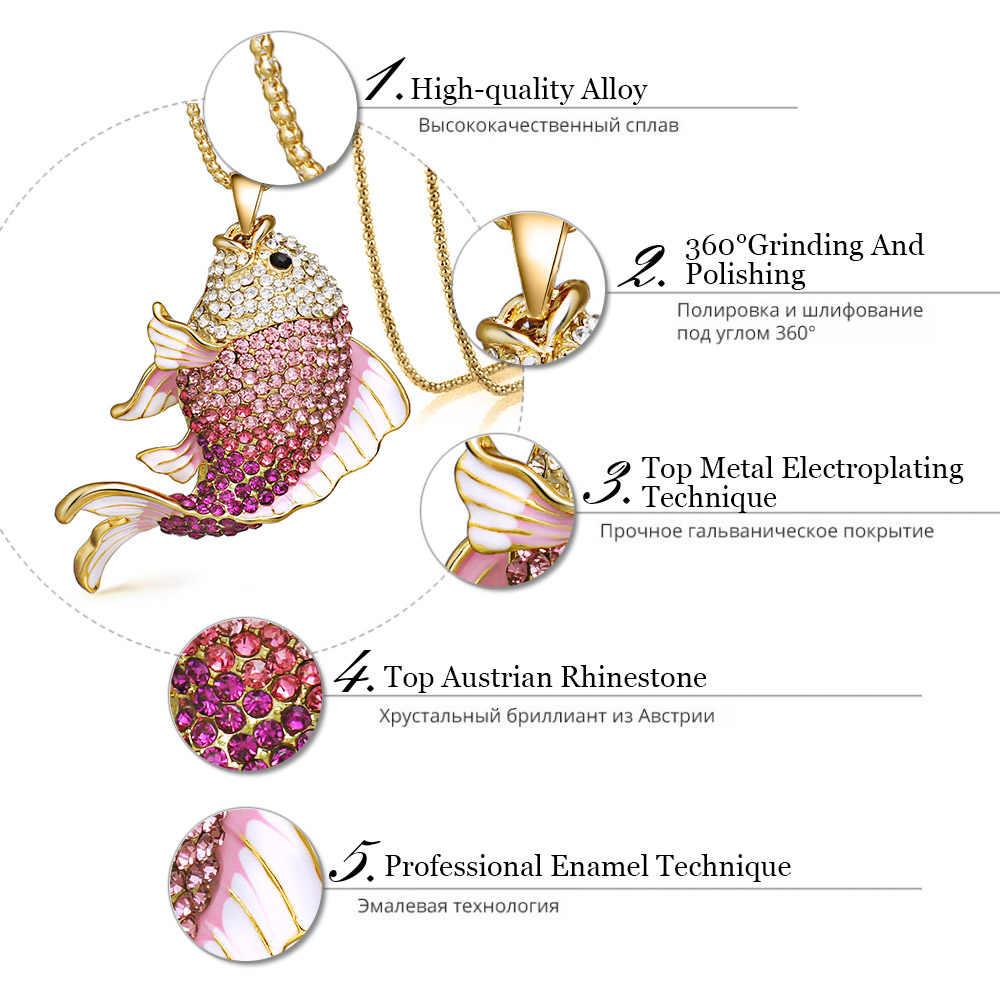2018 nova marca de peixe cristal peixinho esmalte strass longos colares & pingentes para as mulheres charme festa presente x605