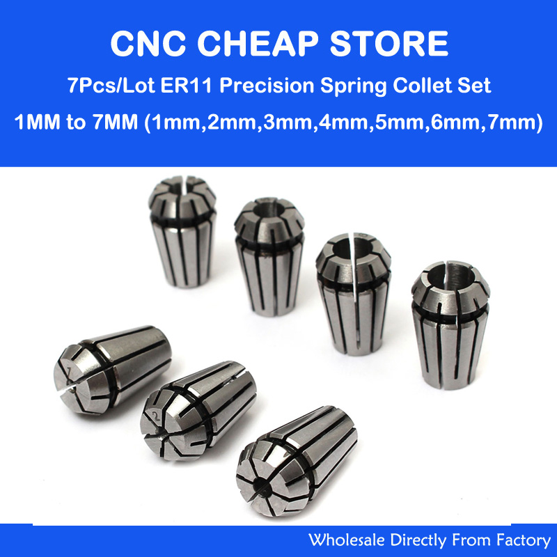 7Pcs/Lot ER11 Precision Collet Spindle Holder Chuck Set CNC Router Engraving Milling WoodWorking Lathe Tool & Workholding 1-7mm