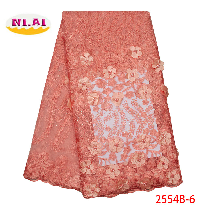 2019 High Quality African Lace Fabrics French Net Embroidery Peach 3 D Flowers Tulle Lace Fabric