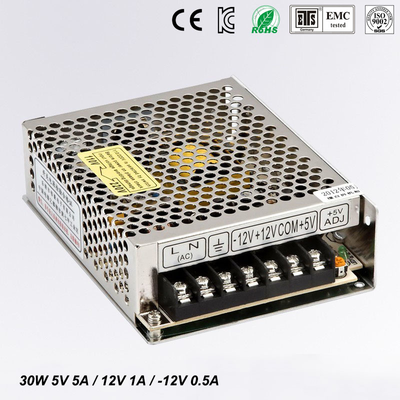 30W Triple output switching power supply 5V 12V -12V 5A 1A 0.5A power suply T-30B High quality ac dc converter 1pcs 60w 12v 5a power supply ac to dc power suply 12v 60w power supply 100 240vac 111 78 36mm
