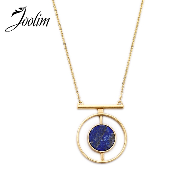 JOOLIM   Navy Blue Natural Stone Pendant Necklace  Statement Jewelry Factory supply  free shipping