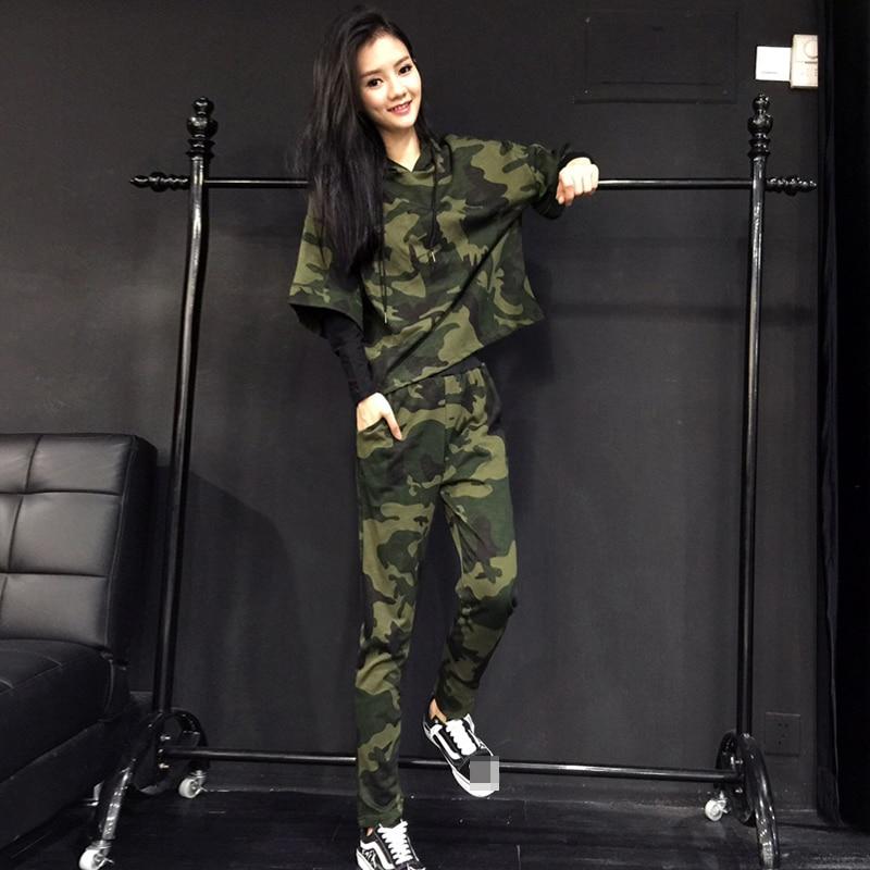 Printemps pièce Chandail Lâche Capuchon Nouveau 2018 Army Costume À Mode Vente Deux Camouflage Directe Pantalon Moitié Green Féminin Occasionnel Coton CPYTqw
