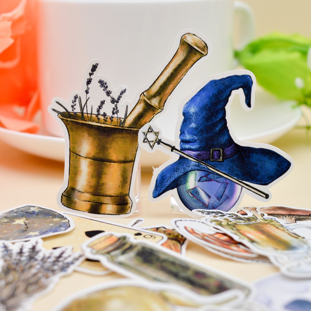 35pcs Hand Drawing Magic Bottle Planner Stickers Crafts Scrapbooking Decorative Thin Paper Magician Sticker Stationery Papelaria