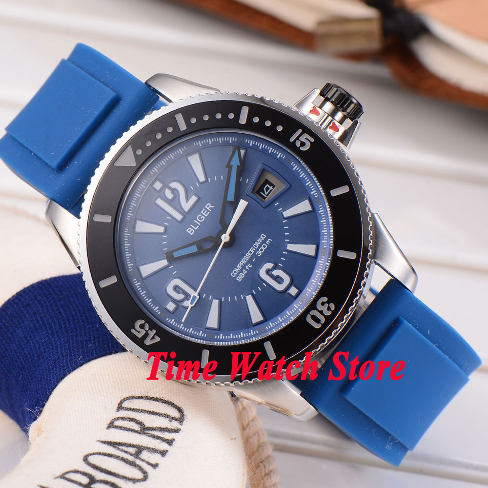 лучшая цена BLIGER 43mm blue dial luminous ceramic bezel blue rubber strap MIYOTA Automatic movement men's watch men 189