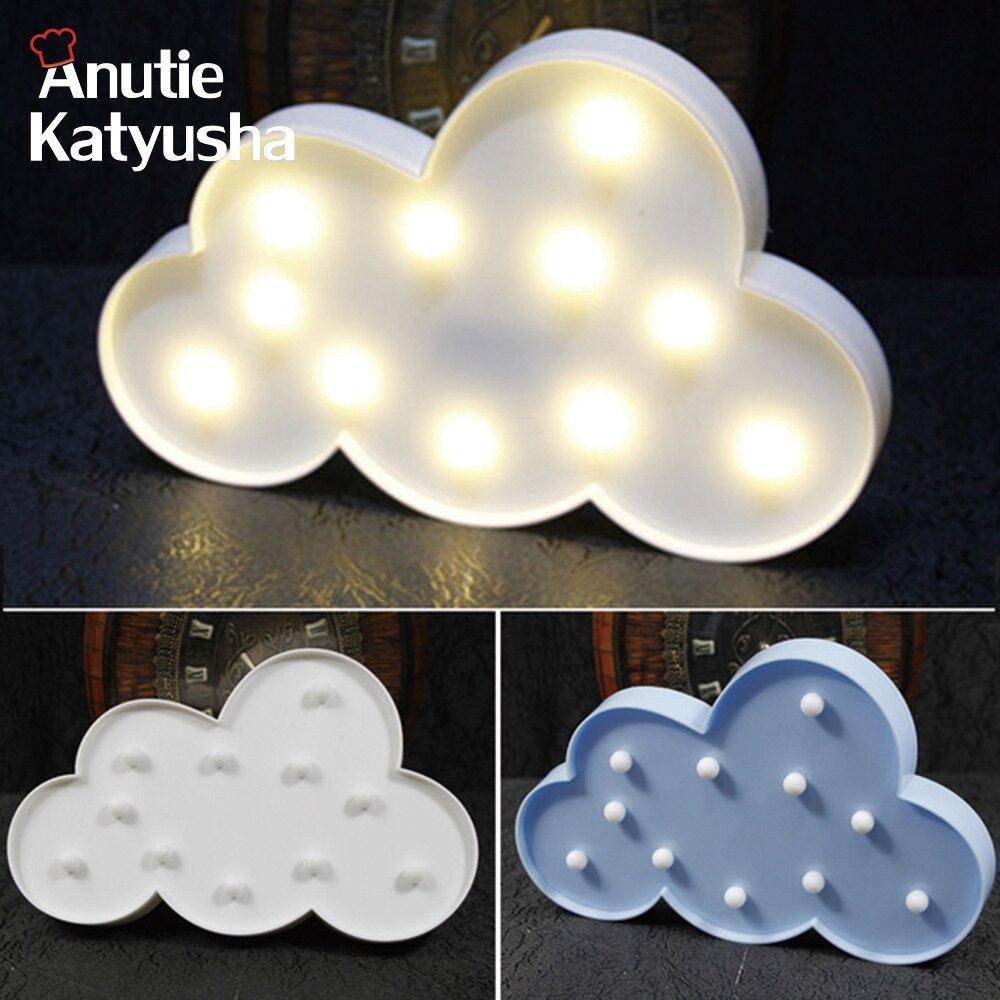 1 Pz LED Nube Night Lampade 3D Marquee Batteria Luce di Notte Casa Natale Decorazione Del Partito FAI DA TE Decoraciones