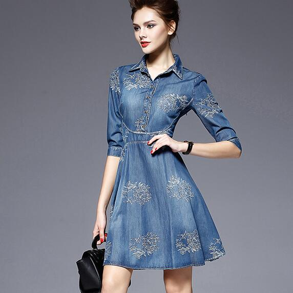 2019 Denim Dress Women Plus Size Tunic Slim Embroidery Summer Style Short Sleeve Slim Casual Jeans Dresses Vestidos AH730 formal wear