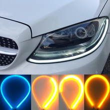 2Pcs 60cm Car Flexible Sequential Strip LED Ice Blue Yellow Flowing Turn Signal Light Angel Eye DRL Lamp Headlight