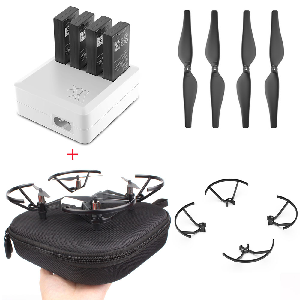 DJI TELLO Charger 4in1 Multi Battery Charging Hub + Carrying Case Storage Box + Quick-Release Propellers Propeller+guard tello charger 4in1 multi battery charging hub for dji tello 1100mah drone intelligent flight battery quick charging us eu plug