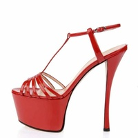 Fashion Red Leather Cross Strap Gladiator Heels Sandals Shoes Peep Toe Cut out High Platform Patchwork Dress Shoes