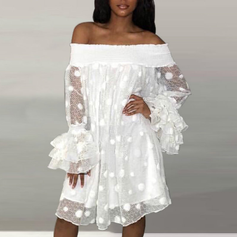 Women White Dress Off Shoulder Lace Tulle Sleeve See Through Loose Big Polka Dot Holiday Beachwear Vacation Backless Summer Wear