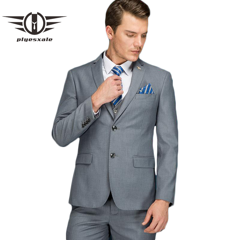 Plyesxale Woolen <font><b>Suit</b></font> <font><b>Men</b></font> <font><b>Wedding</b></font> <font><b>Suits</b></font> <font><b>2018</b></font> Costume Homme Mariage <font><b>Terno</b></font> Slim Fit Masculino 2 Piece Grey <font><b>Men's</b></font> <font><b>Suits</b></font> Formal Q6 image