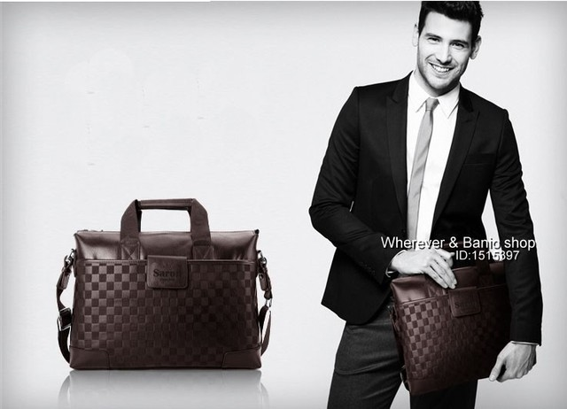 "Authentic POLO High Quality Men's Black Leather Briefcases,Shoulder Bag,For Business 14"" laptop Free Shipping"